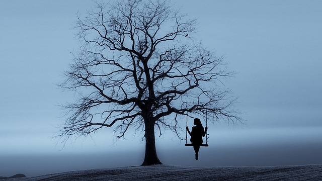 albero, altalena, signora
