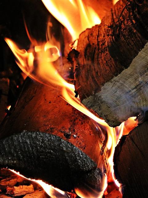 fuoco, legno, brace