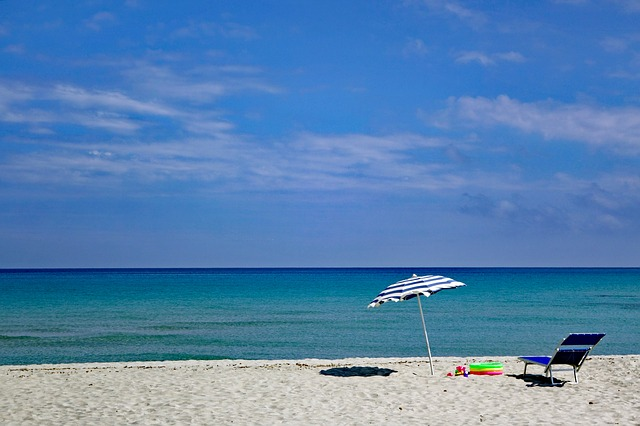 spiaggia, cielo, cielo blu