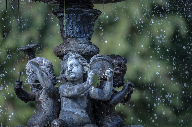 fontana, angel, acqua