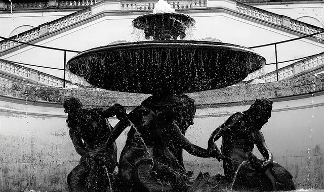 fontana, giochi d'acqua, gocciolamento
