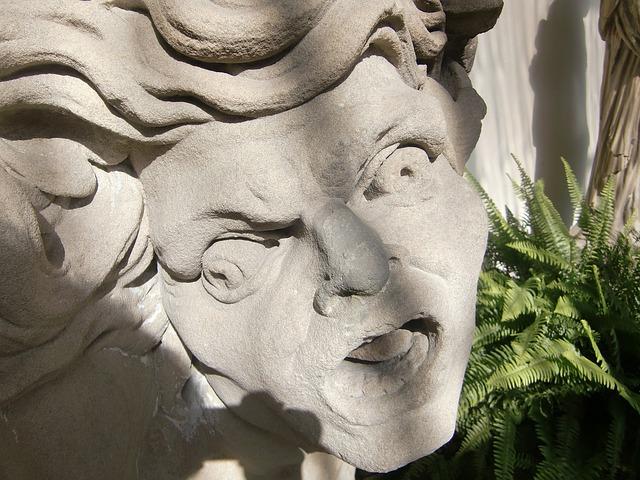 fontana, testa, di pietra