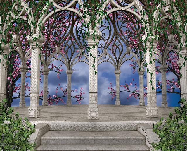 gazebo, giardino, viti