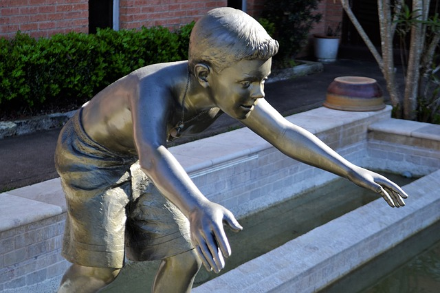 ragazzo, bambino, statua